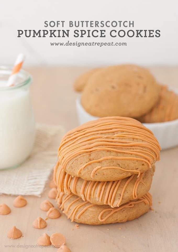 Stack of Soft Butterscotch Pumpkin Spice Cookies with Butterscotch Drizzle