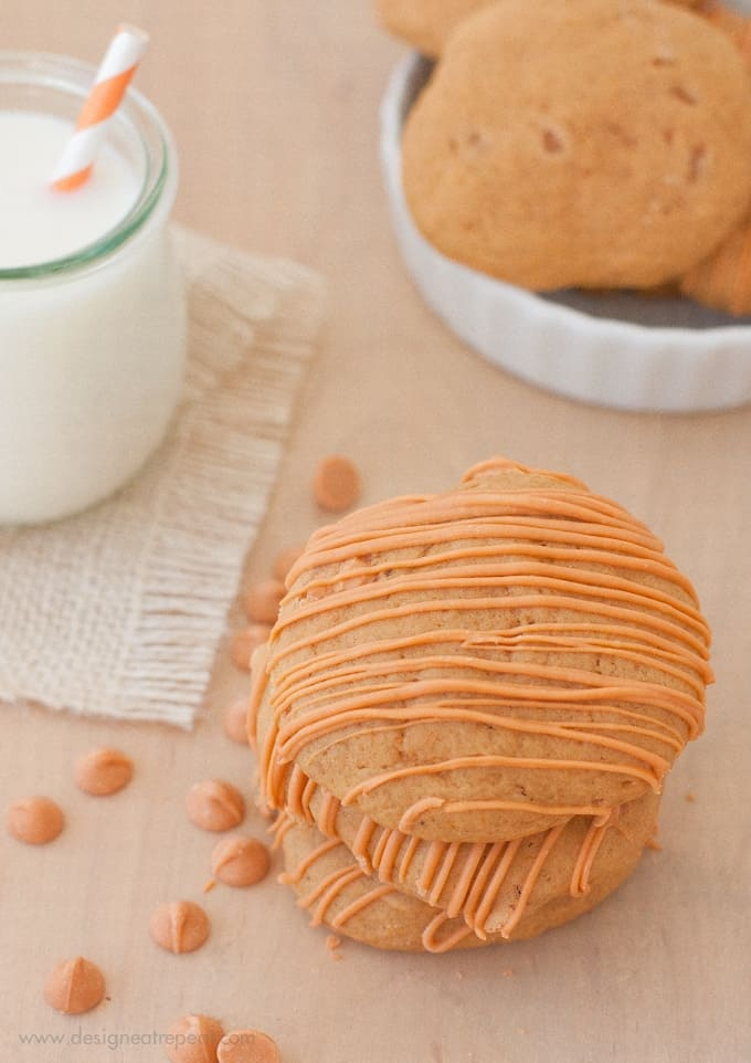 Stack of 3 Soft Butterscotch Pumpkin Spice Cookies on wooden table