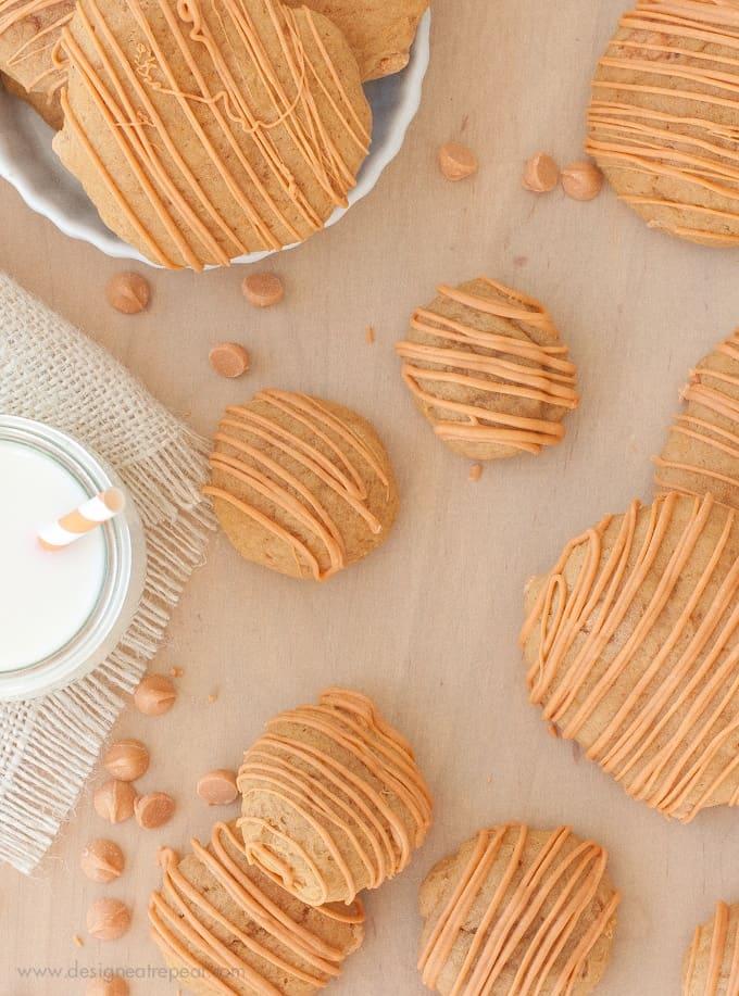 Overhead shot of Soft Butterscotch Pumpkin Spice Cookies on wooden table