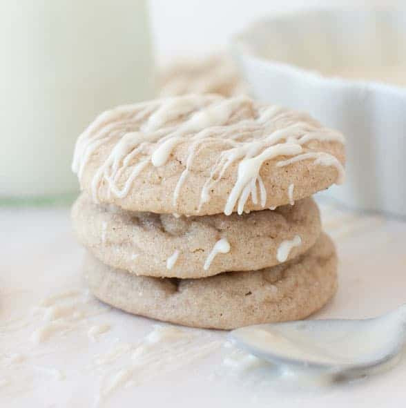 Soft Maple Gingersnaps with Maple Cream Cheese Drizzle