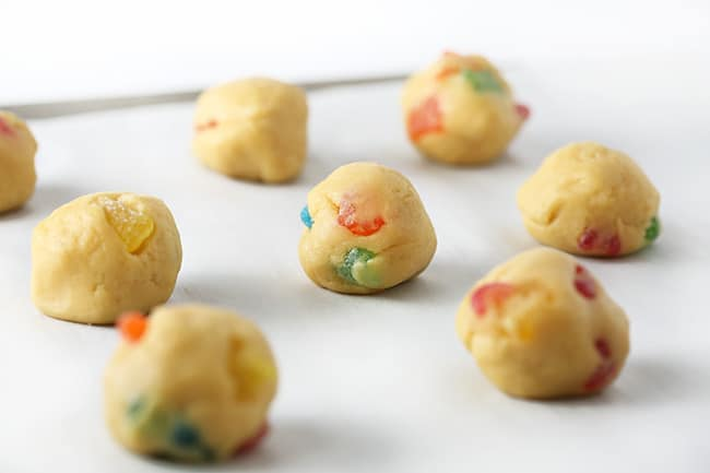 Balls of dough on cookie sheet for sour patch kids cookies