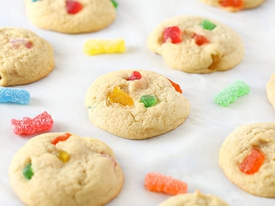 Sour patch kids cookies on baking tray