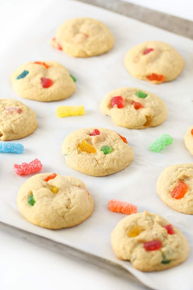Sour patch kids cookies on baking sheet