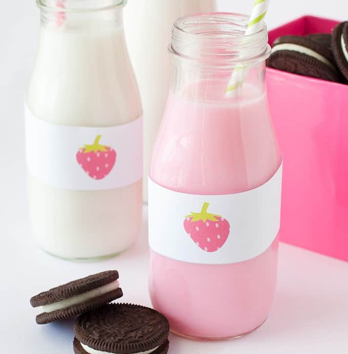 Milk Jar Label Strawberry Printables
