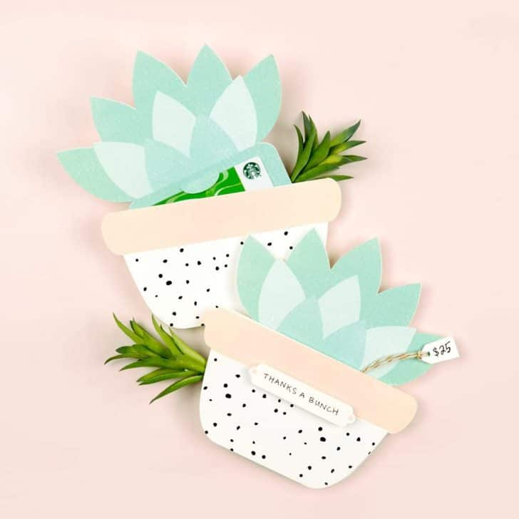 Succulent Printable Gift Card Holder