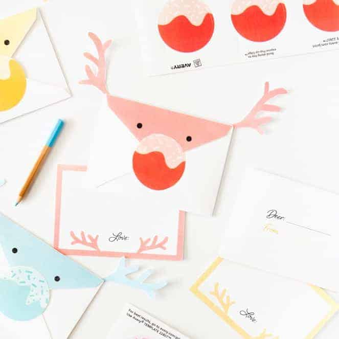 These reindeer envelopes are so adorable and easy to make with the printables from Design Eat Repeat! The entire set is free and comes with the envelope, notecard, and sticker nose template!