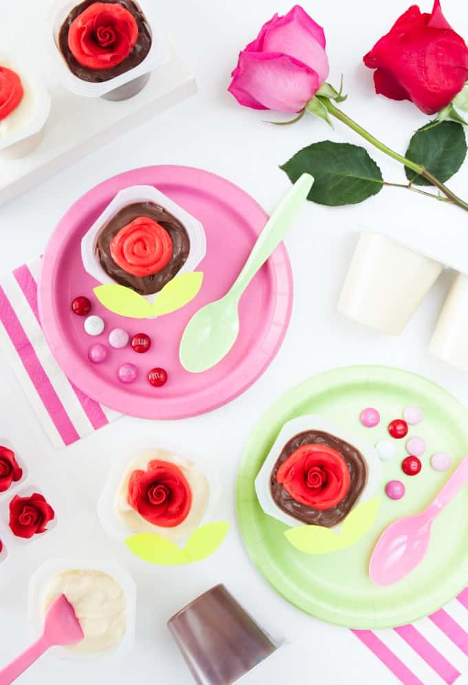 This site has fun topping ideas to decorate cute Valentine's day pudding cups!