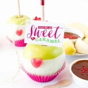 Valentine's Day Caramel Apple Kit with You're As Sweet as Caramel Tags! Designed by Melissa at Design Eat Repeat!