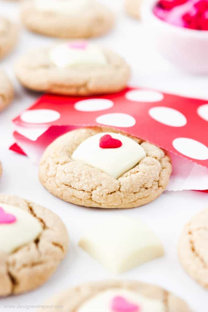 Valentine's Day White Chocolate Peanut Butter Cookies!