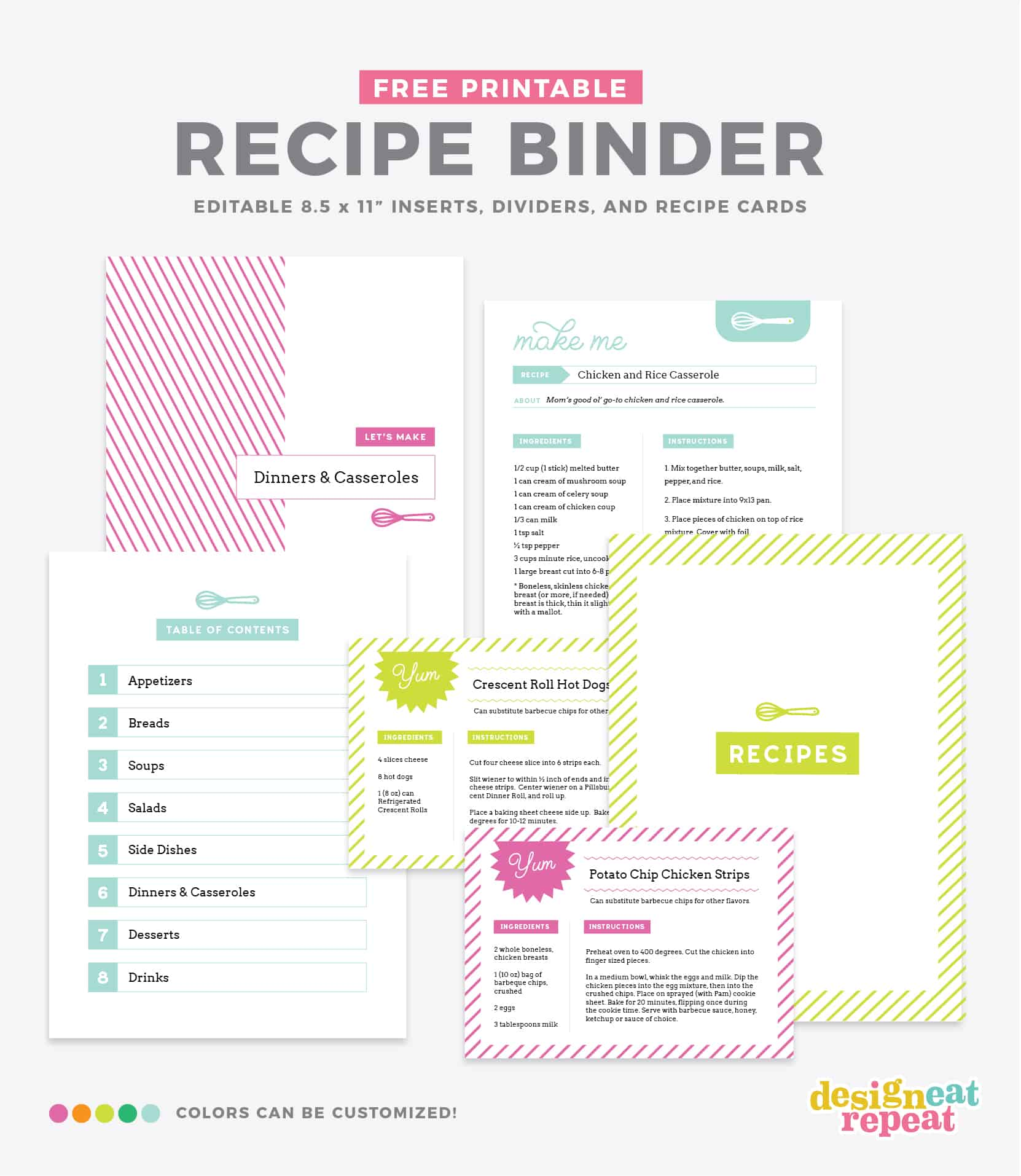 Diy recipe book with free printable recipe binder kit for Free printable full page recipe templates