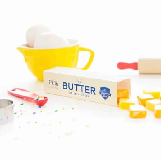 Butter Stick Baking Party Invitations & Candy Boxes