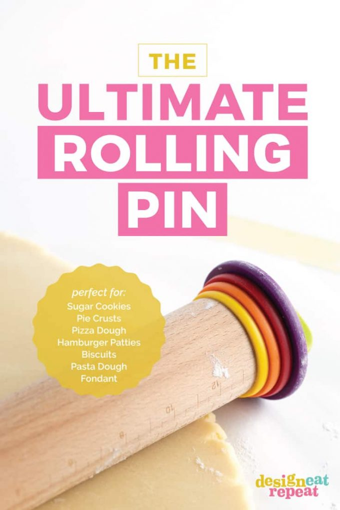 The ultimate rolling pin for making sugar cookies, pie crusts, pizza dough, hamburger patties, biscuits, pasta dough, and fondant