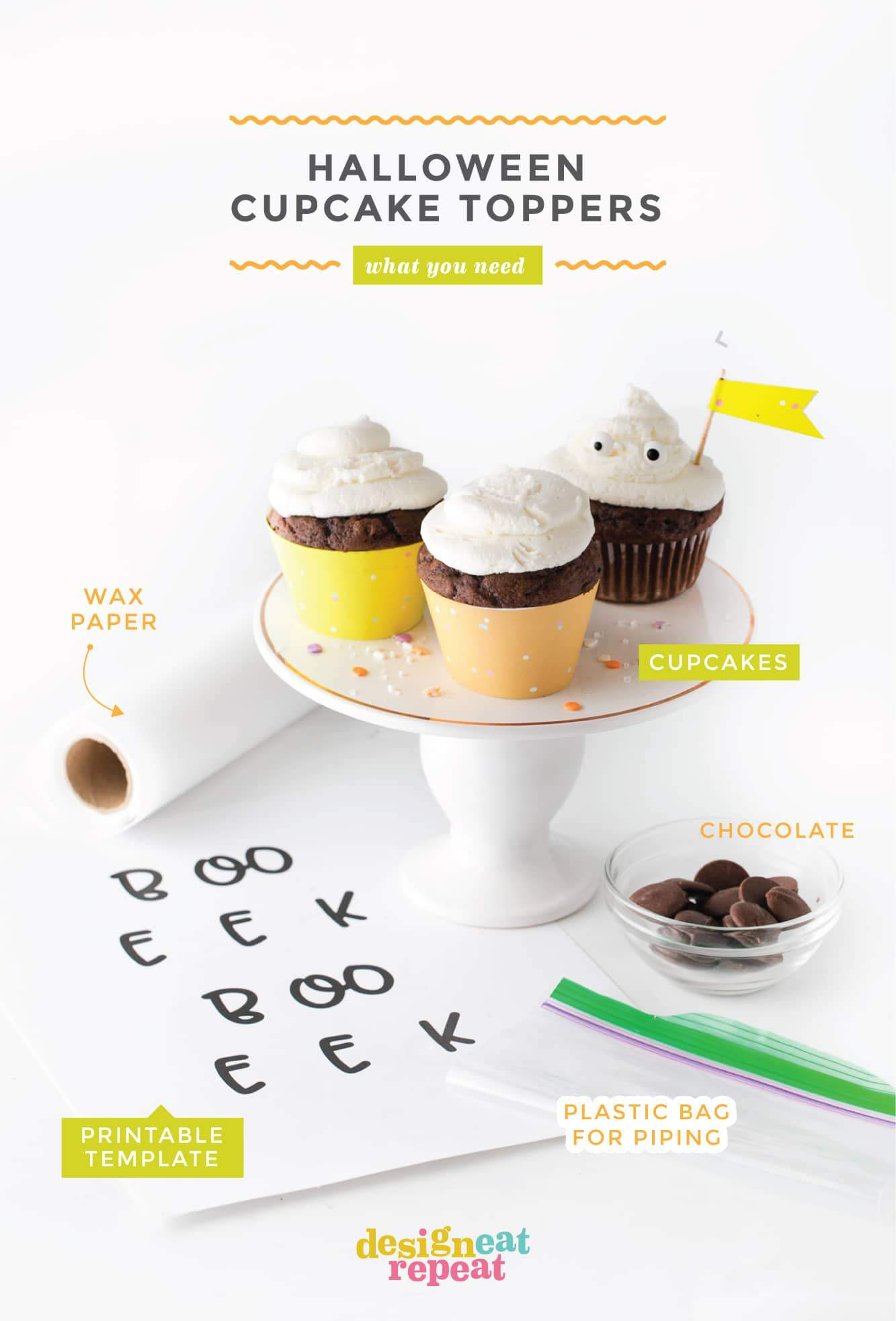 Materials for Edible Halloween Cupcake Toppers. Cupcakes, printable template, wax paper, plastic bag, and chocolate.
