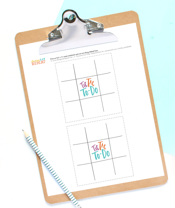 Clipboard with chore chart printable game called Tic Tac To-Do