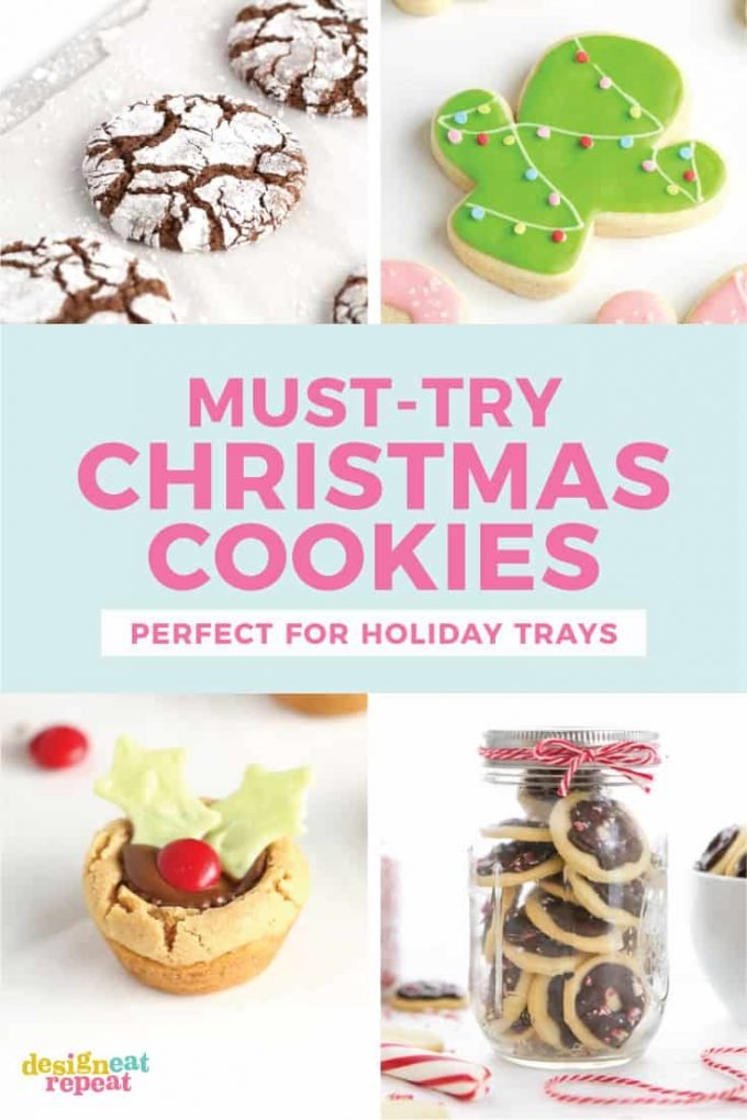 Roundup of 5 must-try Christmas Cookie Recipes - includes brownie cookies, Christmas cactus, peanut butter cup, peppermint butter wafers