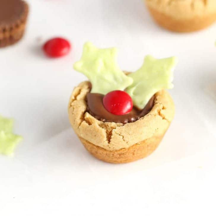 Christmas Holly Cookie Cups