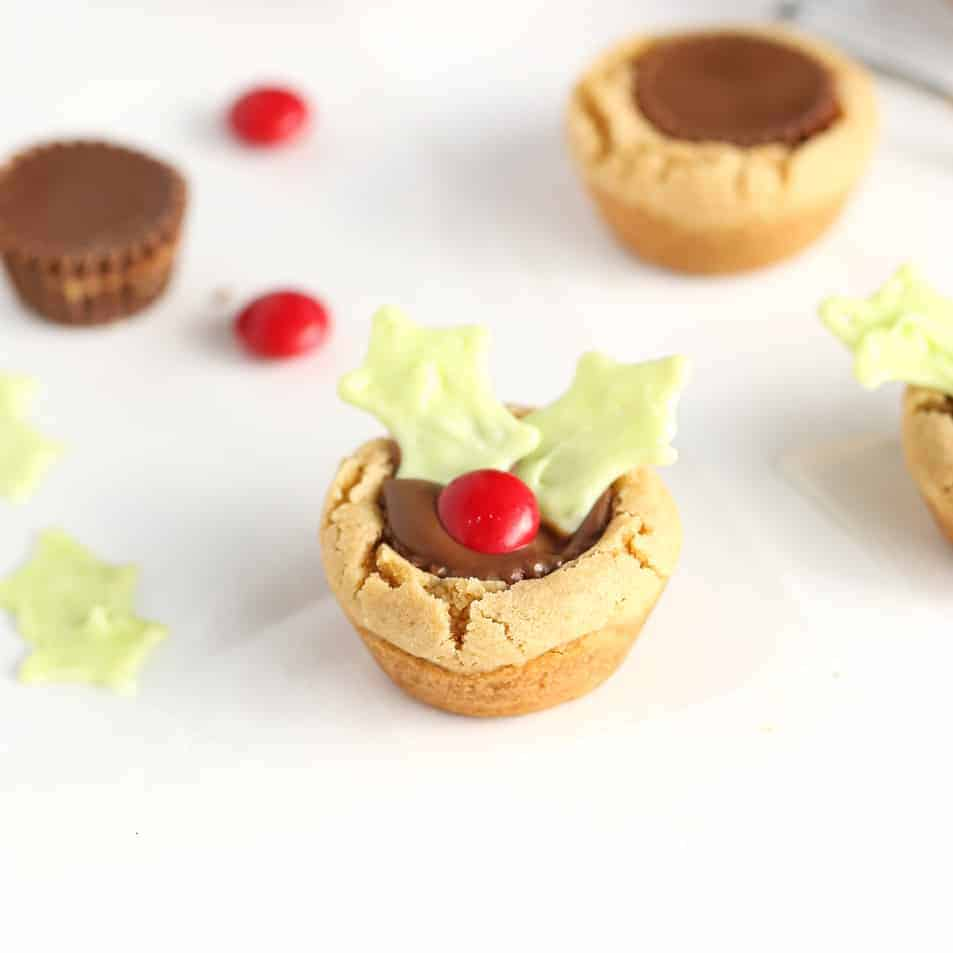 Holly leaf peanut butter cup cookies - a favorite Christmas cookie recipe