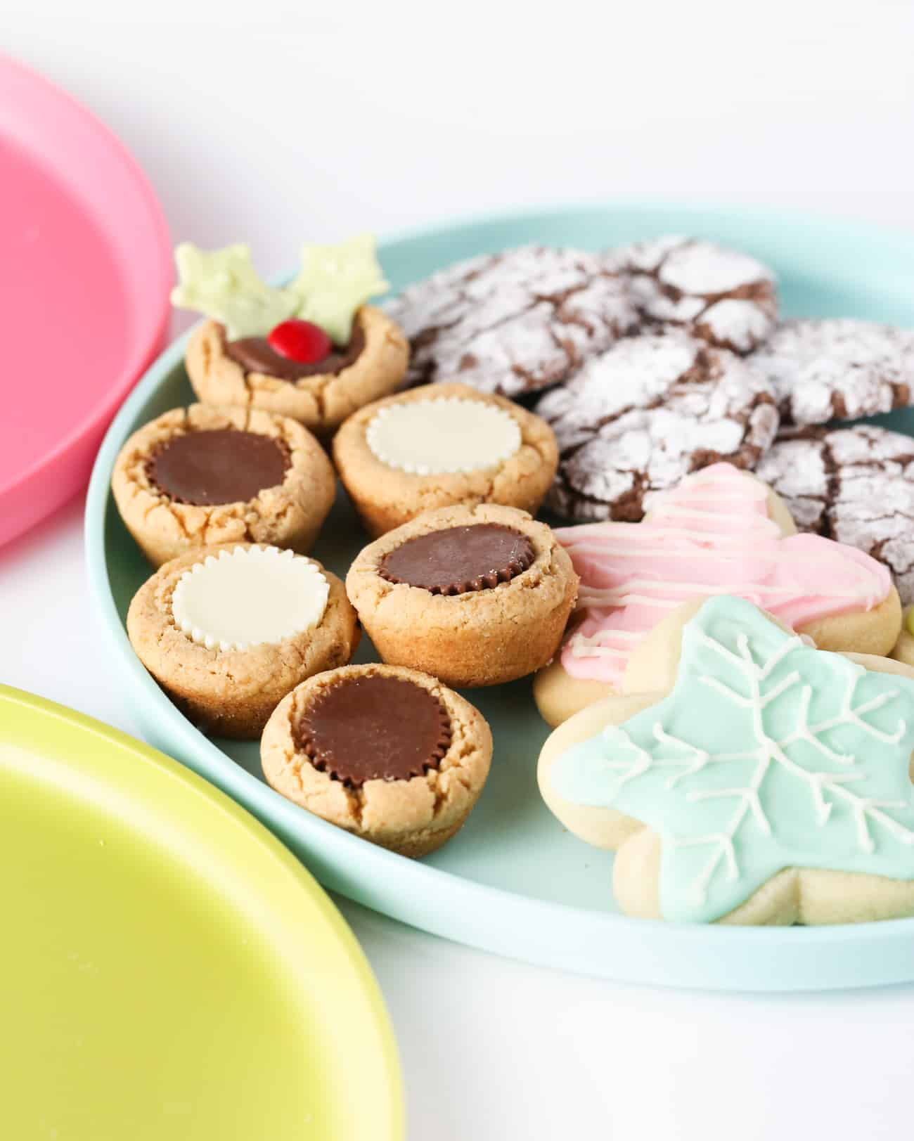 DIY Cookie tray with peanut butter cup cookies, sugar cookies, and brownie cookies.