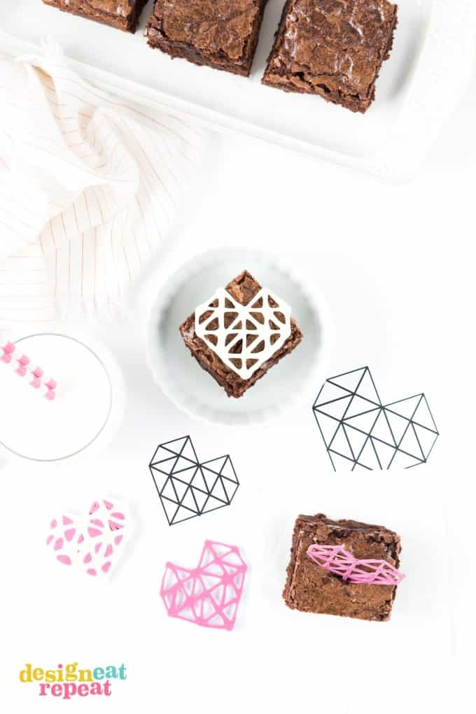 Dress up your Valentine's Day treats with these DIY Geometric Chocolate Heart Toppers! Includes the template download so you can easily trace!
