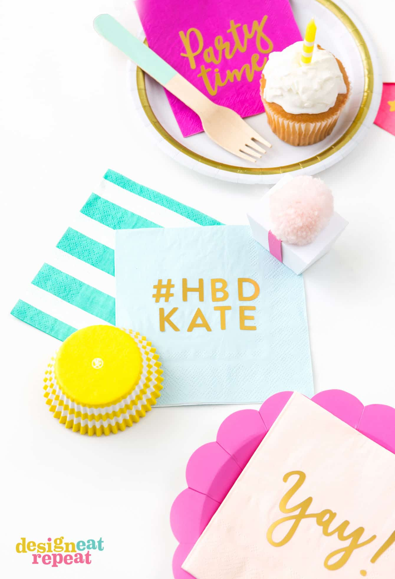 "Blue gold foil DIY napkin that says ""HBD Kate"""
