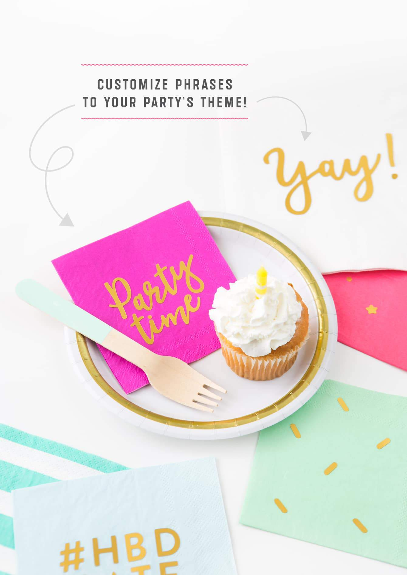 "Customize phrases to party theme on gold foil DIY napkins. Pink napkin with phrase ""party time"" and sprinkle napkin with cupcake."