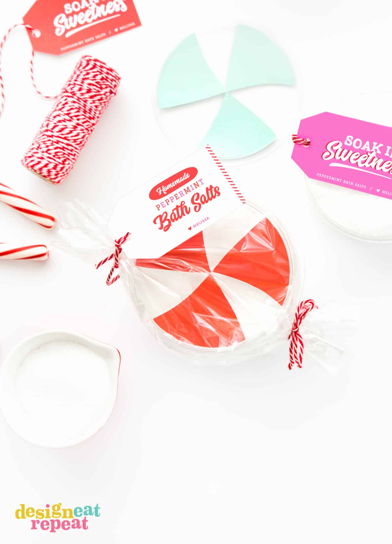 Container of peppermint DIY bath salt with printable gift tag.