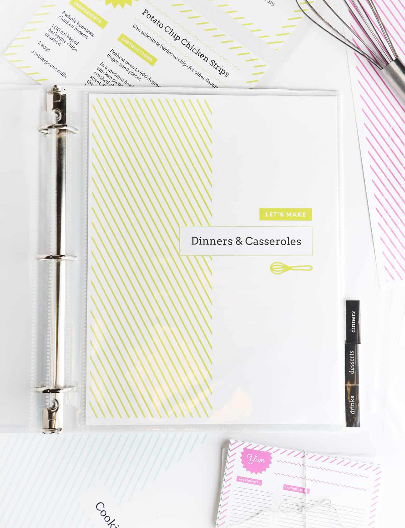 diy recipe book with free printable recipe binder kit