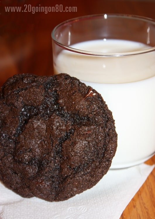 Double chocolate cookie leaning on glass of white milk.