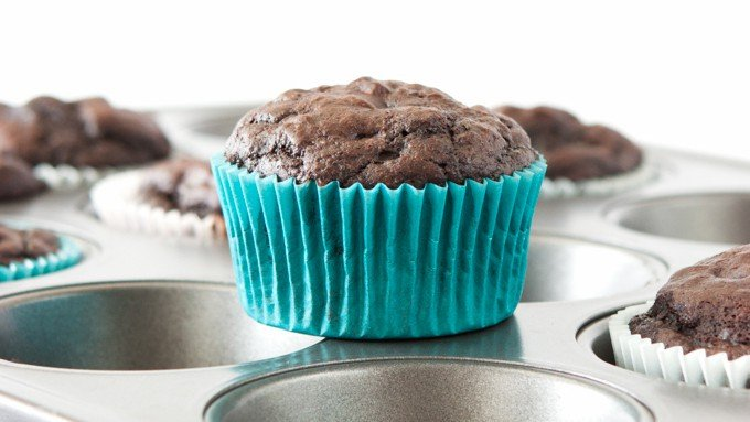 Double Chocolate Protein Muffins - using no butter or oil!