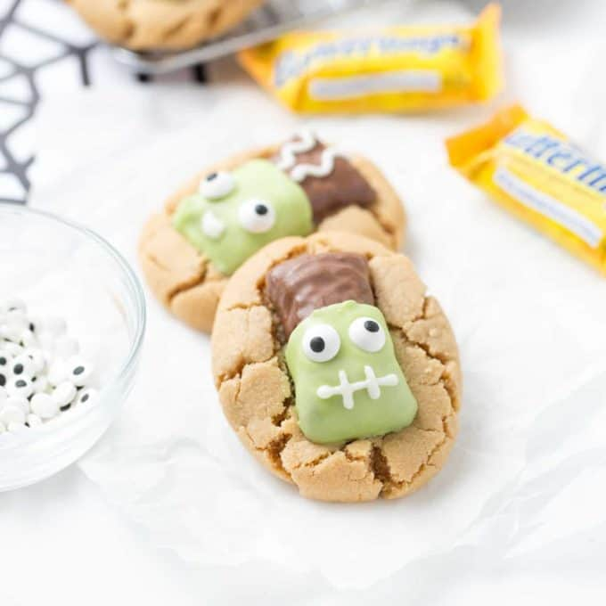 Peanut butter cookies with butterfinger decorated like frankenstein