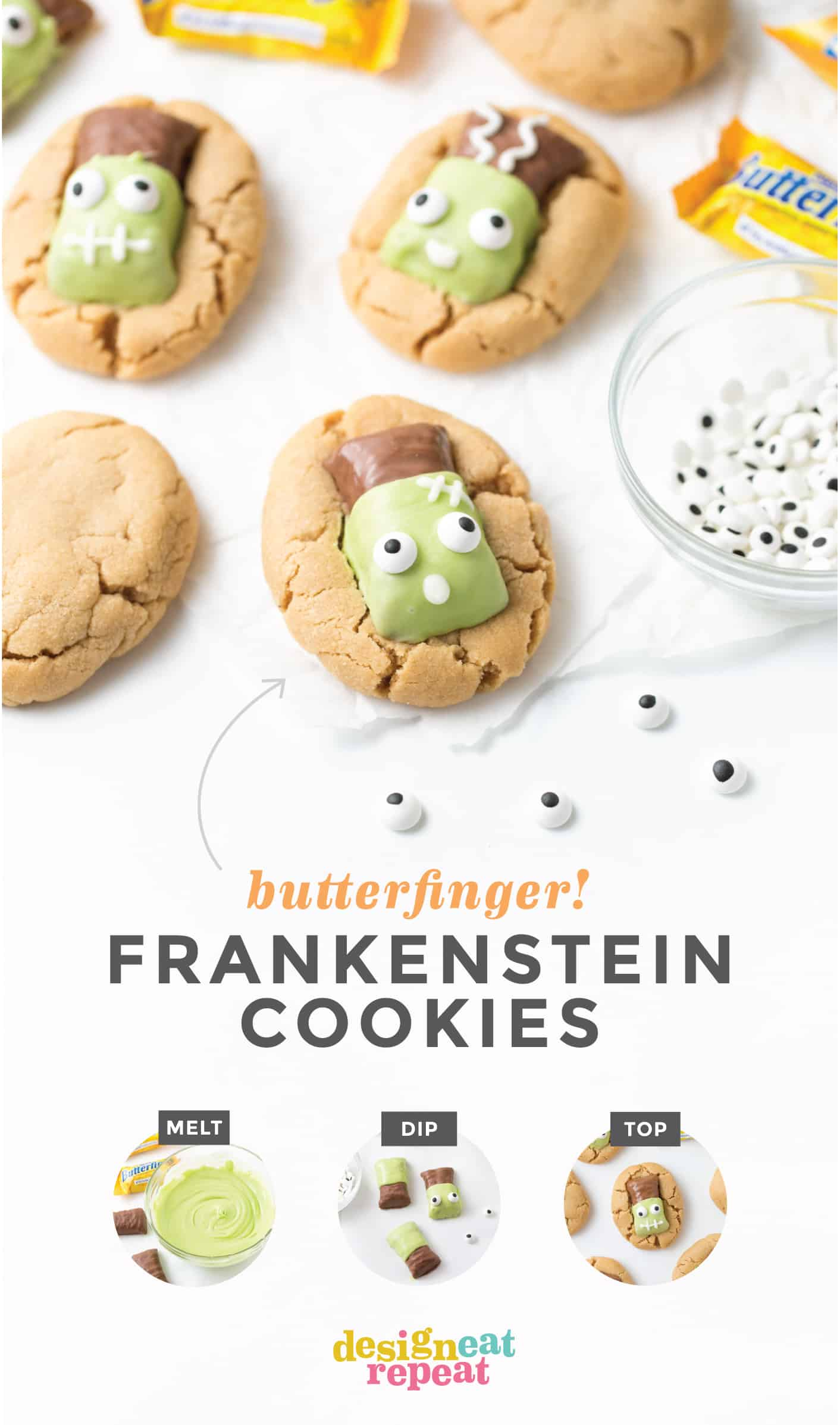 Peanut Butter Cookies with Butterfinger Frankensteins on top. Butterfinger candy bar dipped in green white chocolate then decorated with eyeballs on top.