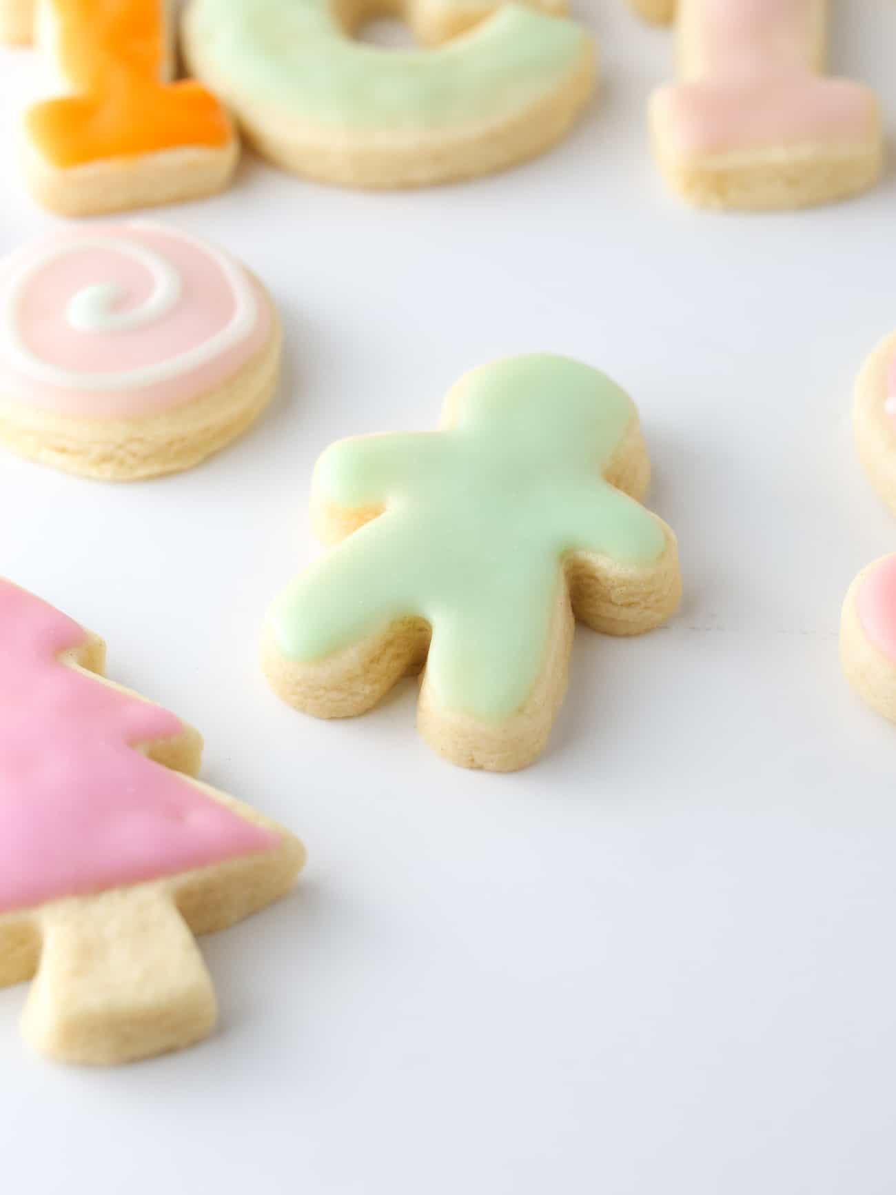 Mint colored gingerbread man sugar cookie.