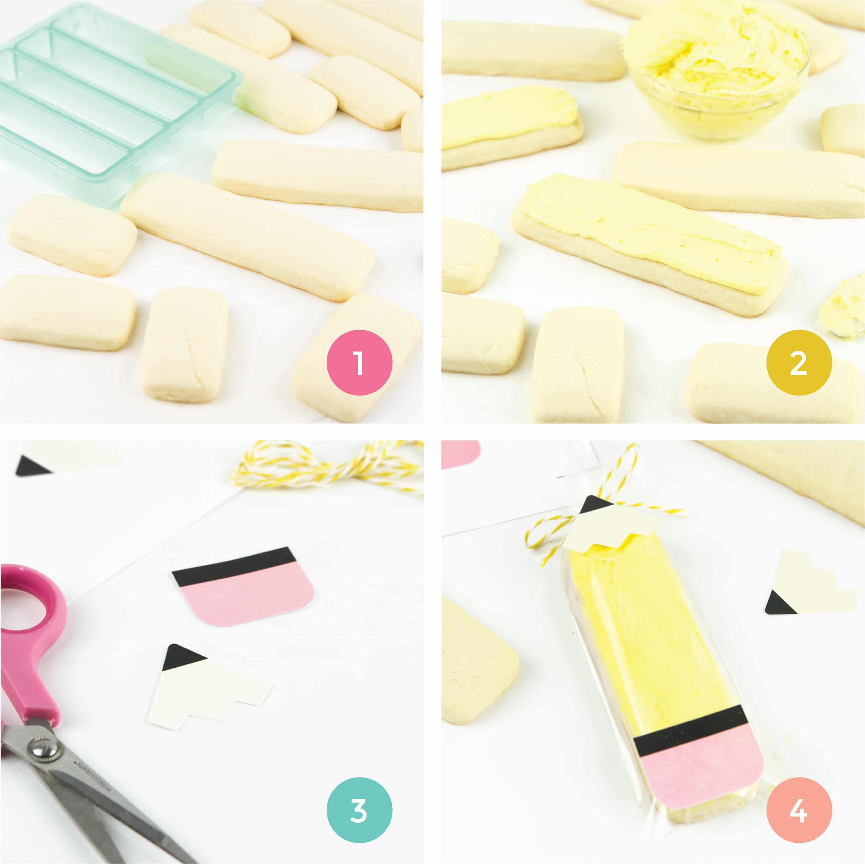 Steps on how to make pencil sugar cookies. Demonstrates how to cut out cookie sticks, how to frost with yellow icing, and how to cut pencil printables.