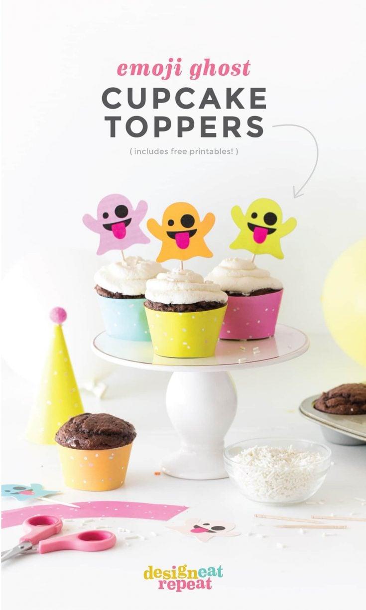 Emoji Ghost Halloween Cupcake Toppers