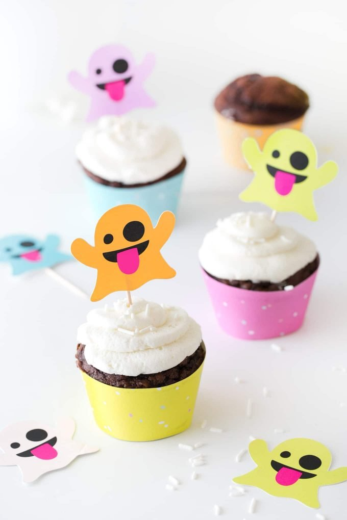 Colorful emoji ghost cupcake toppers
