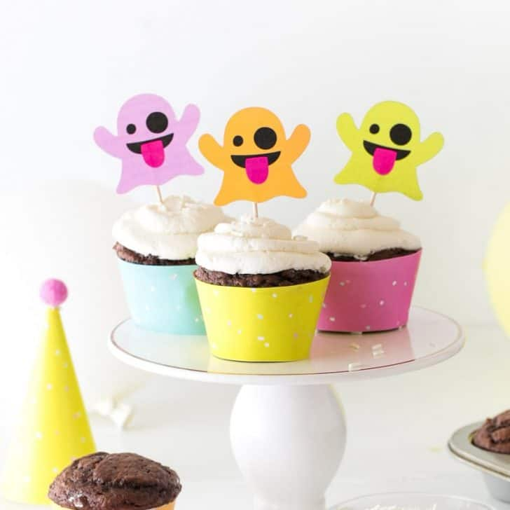 Emoji Ghost Halloween Cupcake Toppers