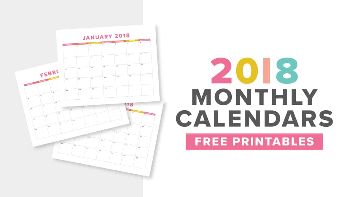 cute colorful free printable 2018 monthly calendar