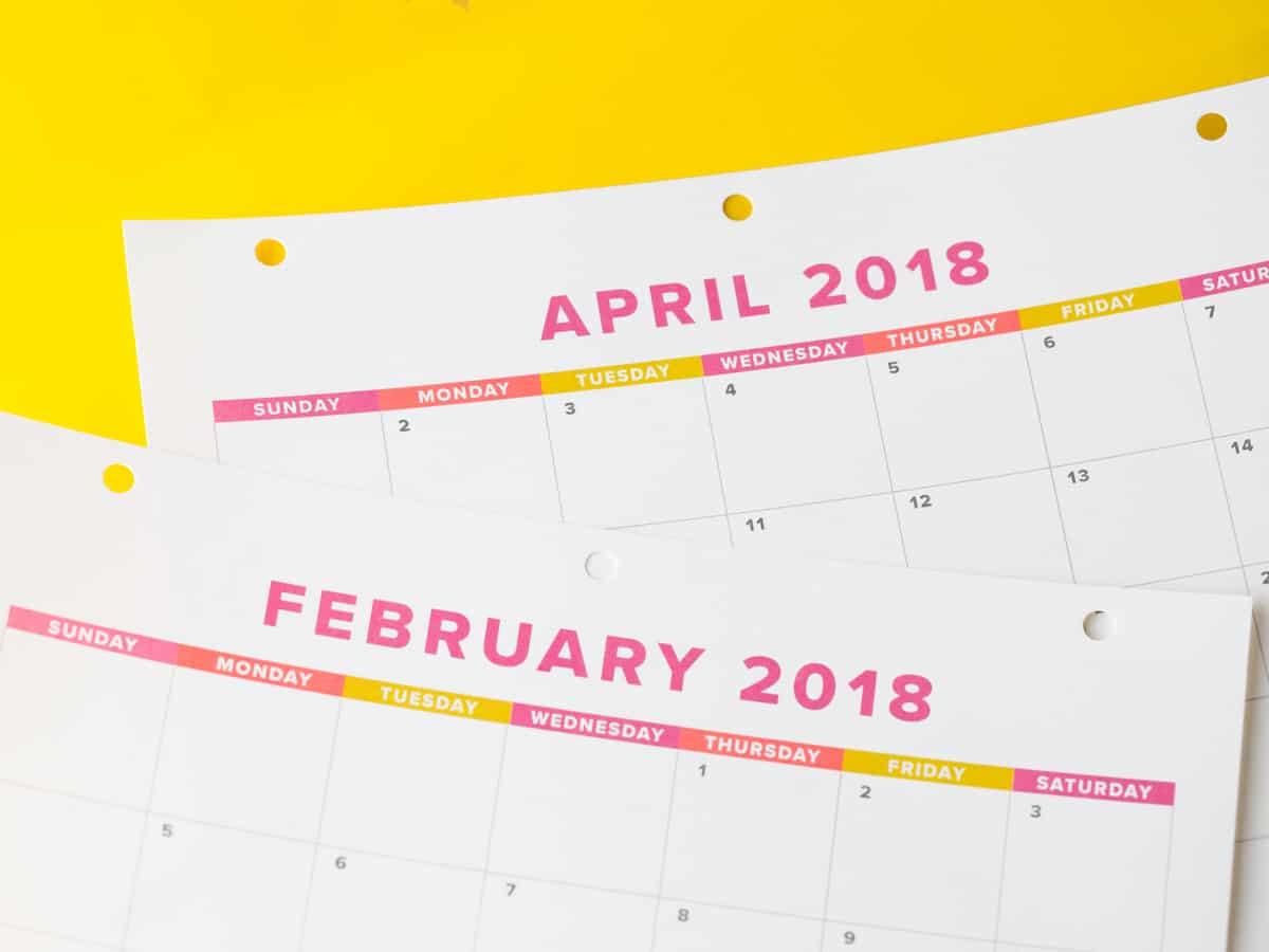 calendar 2018 monthly