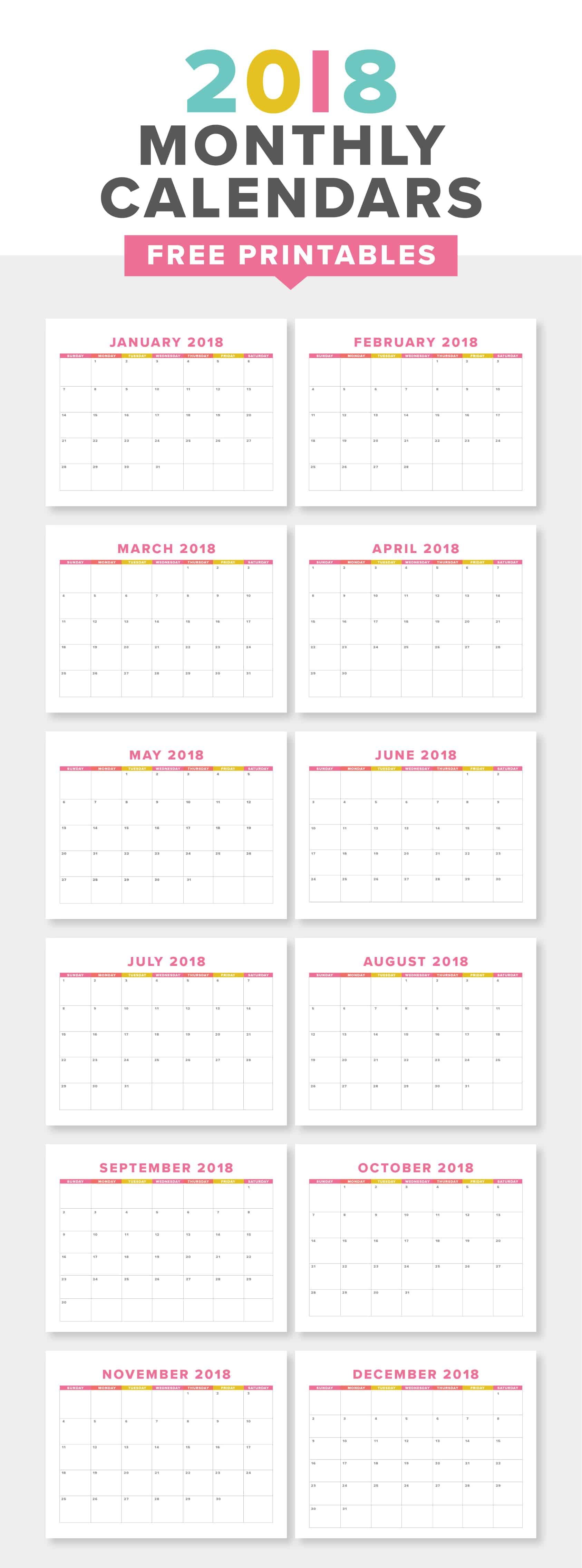 Download this free printable 2018 monthly calendar to keep track of the new year! The downloadable PDF is US Letter Sized and quick to print at home.