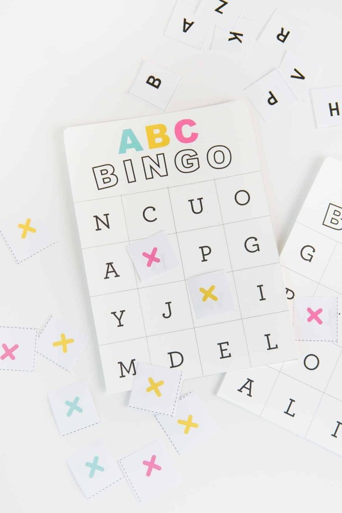 Colorful ABC alphabet bingo cards for kids