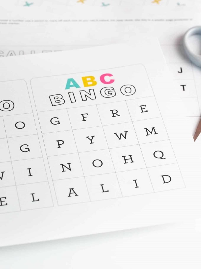 Sheet of ABC alphabet bingo cards for kids
