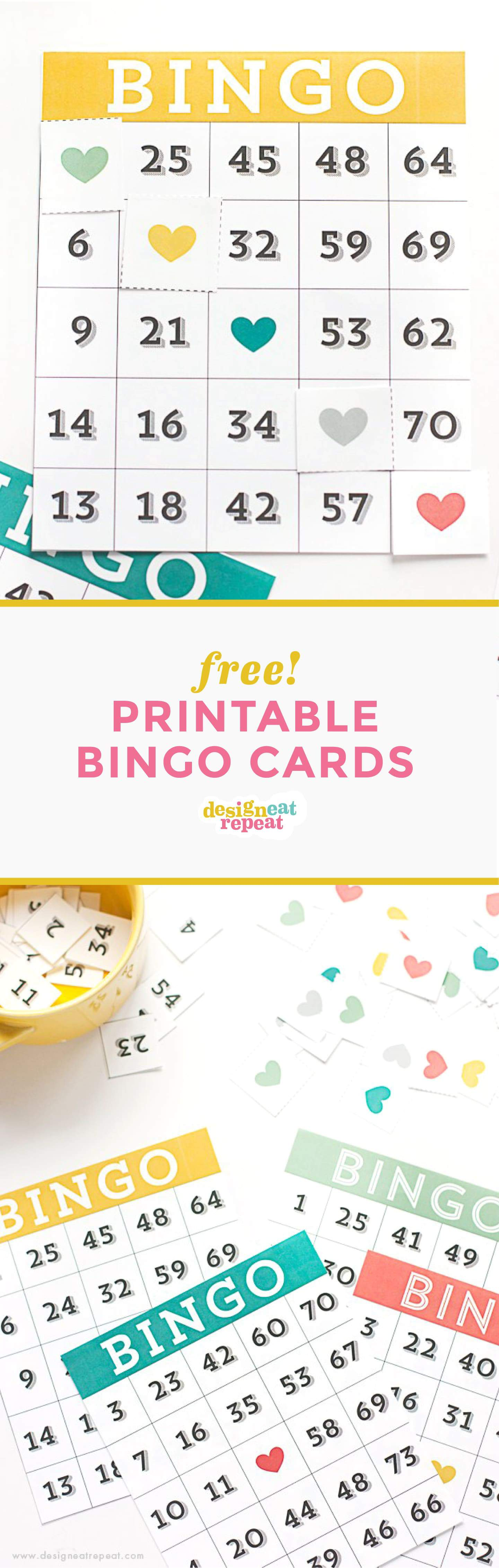 graphic about Printable Bingo Cards for Kids known as Printable Bingo Playing cards - Sport Night time Strategy! - Design and style Take in Repeat