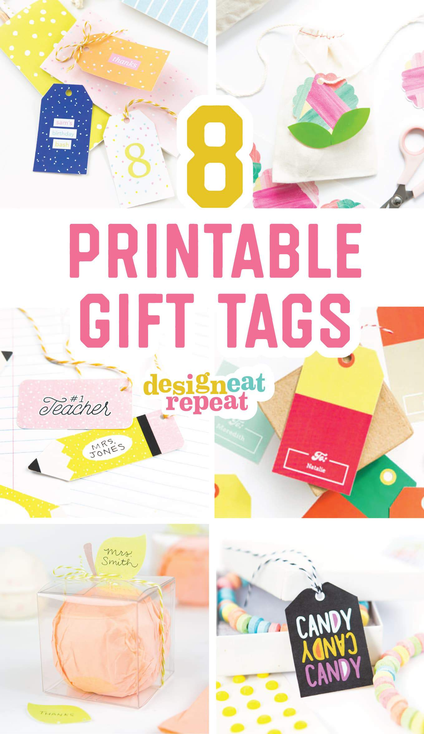 graphic regarding Free Printable Teacher Gift Tags identify 8 Colourful Free of charge Printable Present Tags For Any Social gathering!
