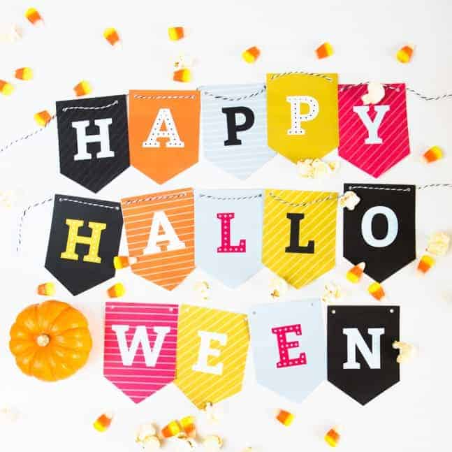 This is a graphic of Impertinent Happy Halloween Banner Printable