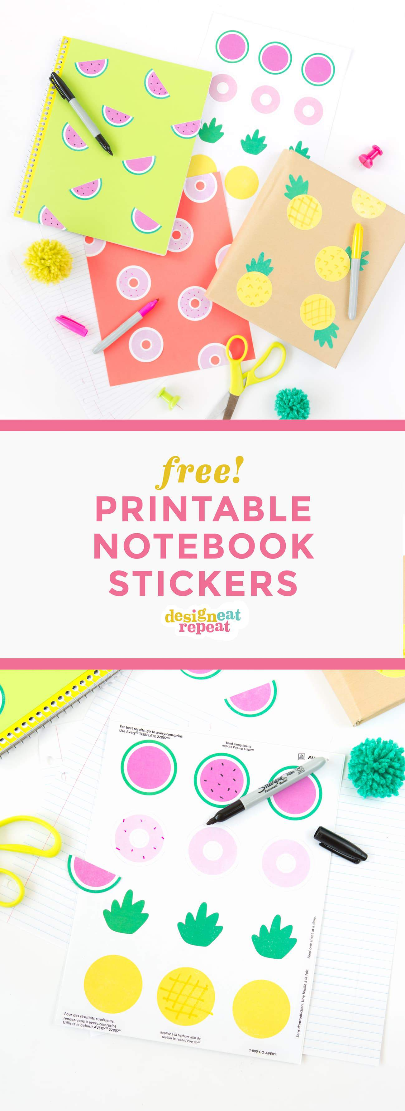 cute printable notebook stickers design eat repeat