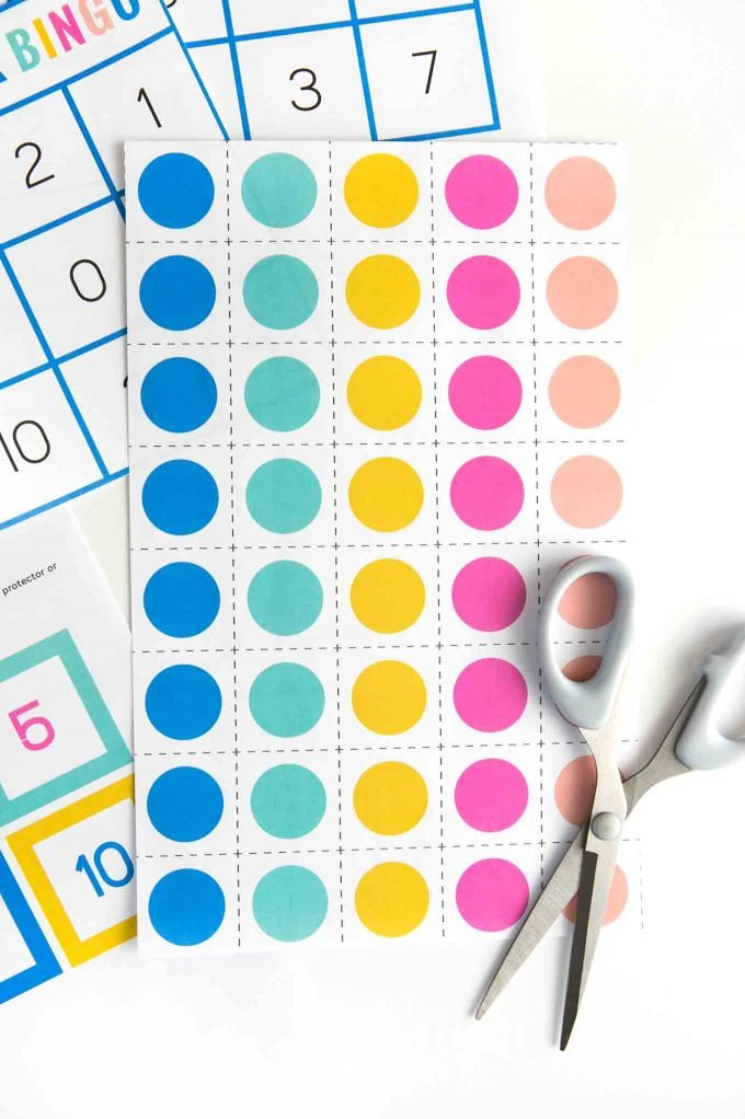 Printed sheet of colorful number bingo marker squares