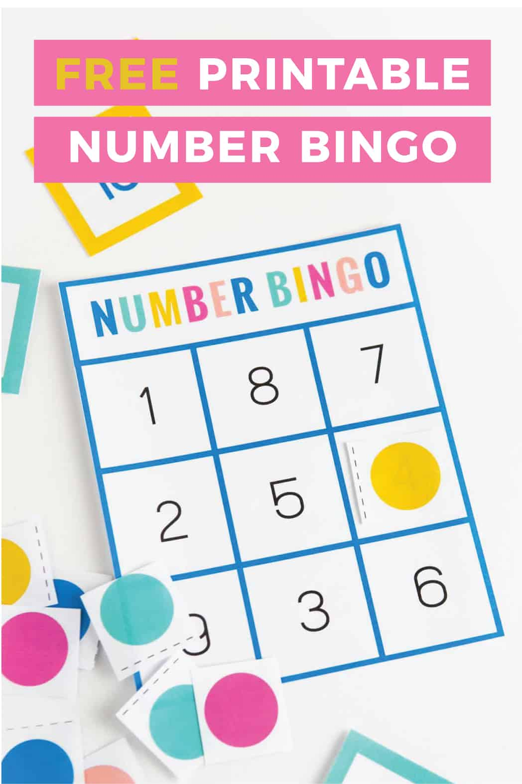 Download this free number bingo set help children learn and recognize numbers. Designed to use a small range of numbers 0-10, these printable bingo cards are perfect for preschool or kindergarten age kids!