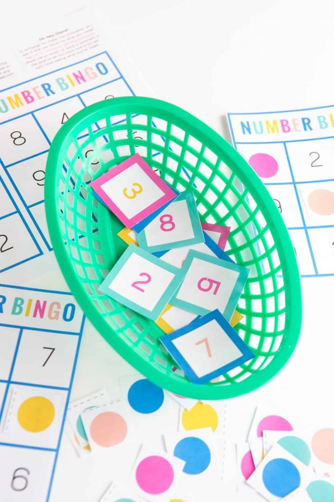 Basket of number bingo squares