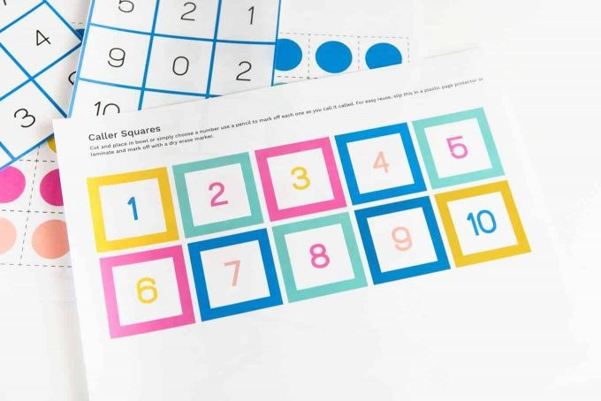 Sheet of number bingo caller squares