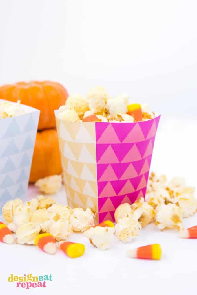 Geometric printable popcorn box template for Popcorn container template